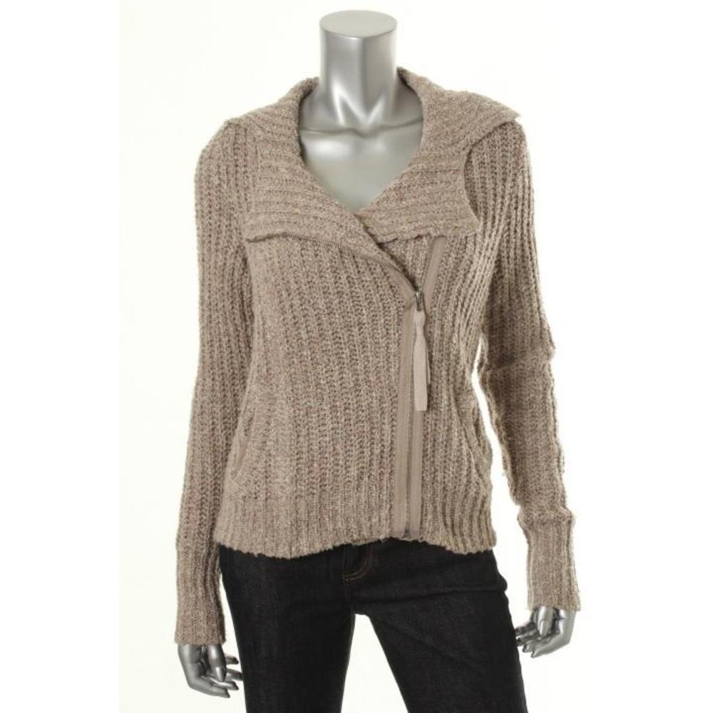 Free People NEW Beige Knit Ribbed Asymmetric Full Zip Sweater Jacket L BHFO ...