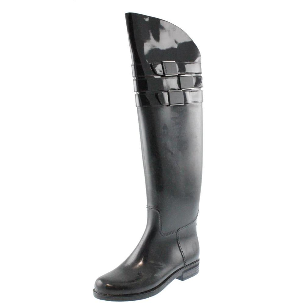 Calvin Klein NEW Ava Black Patent Belted Over-The-Knee Rain Boots ...