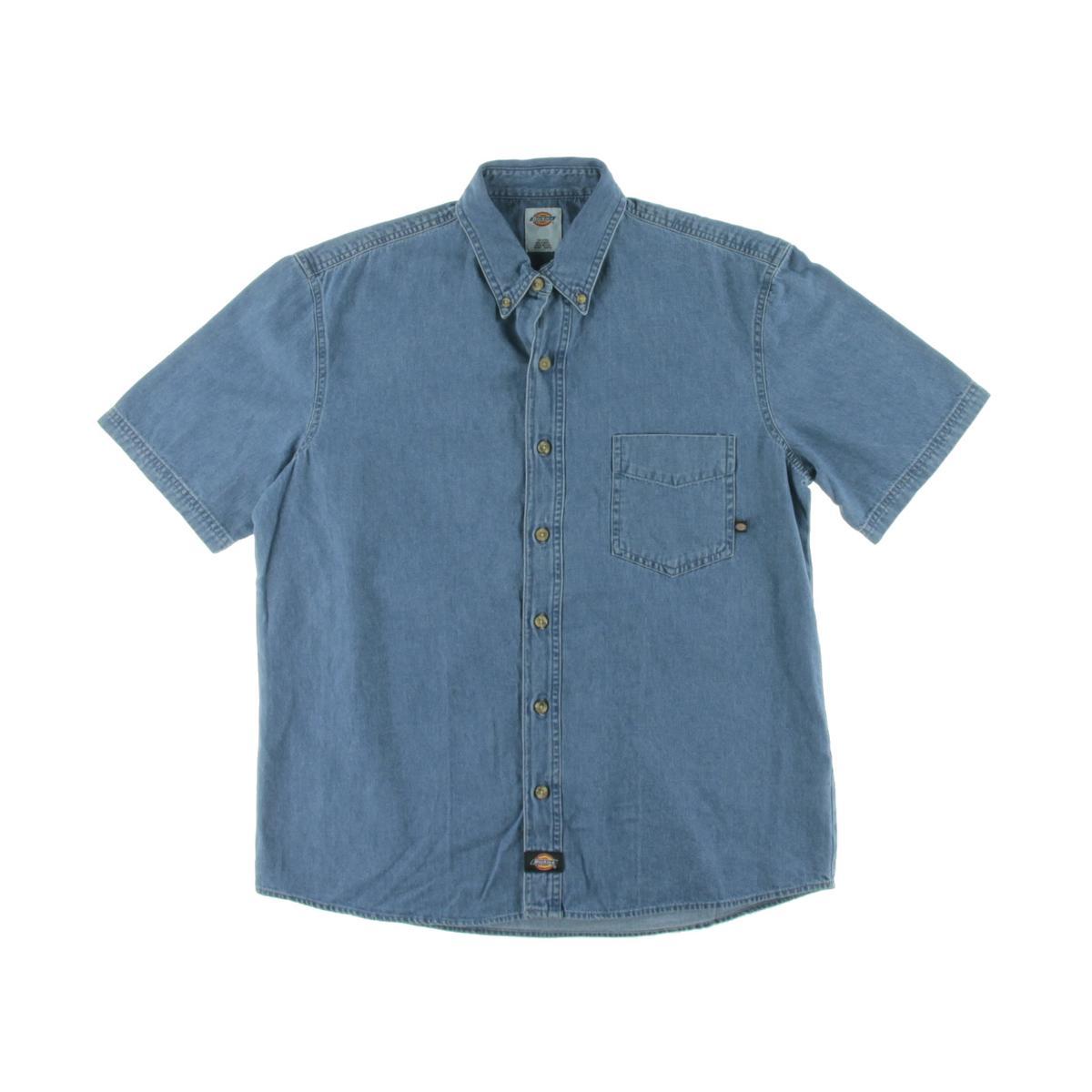 Dickies 6563 mens work denim button down shirt bhfo ebay for Denim button down shirts