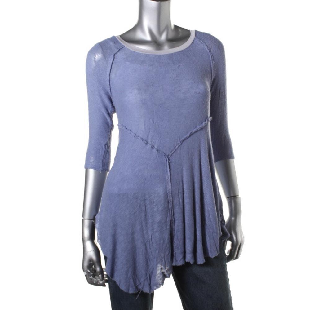 Free people 1019 womens knit raglan sleeves raw edge tunic for Raw edge t shirt women s