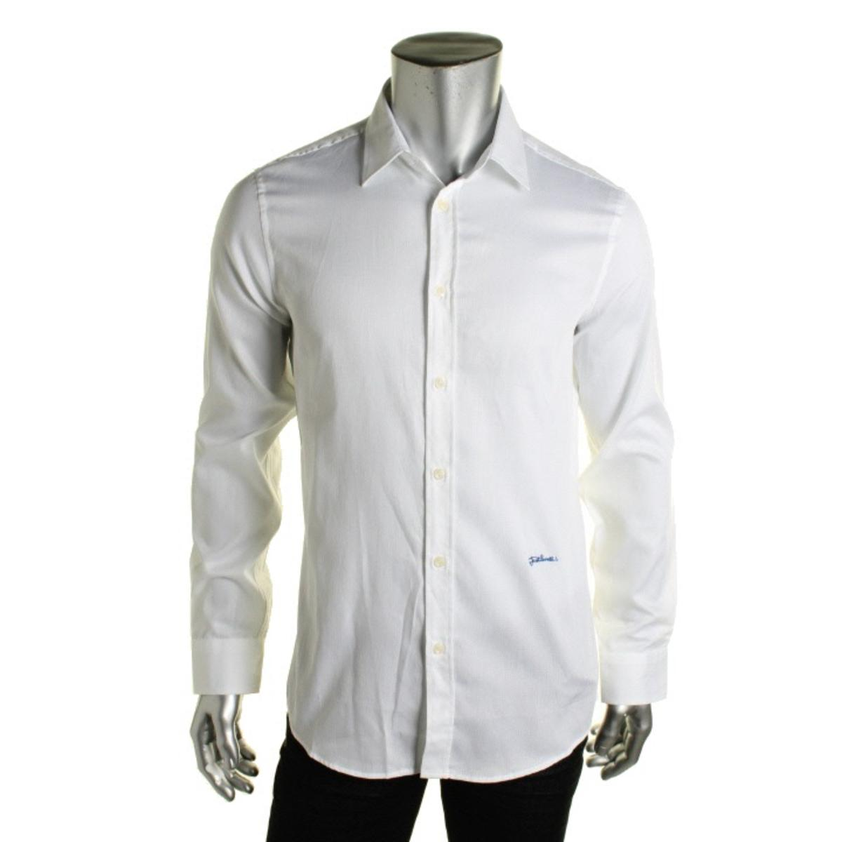 Just cavalli 0053 mens cotton point collar button down for Button down collar dress shirts