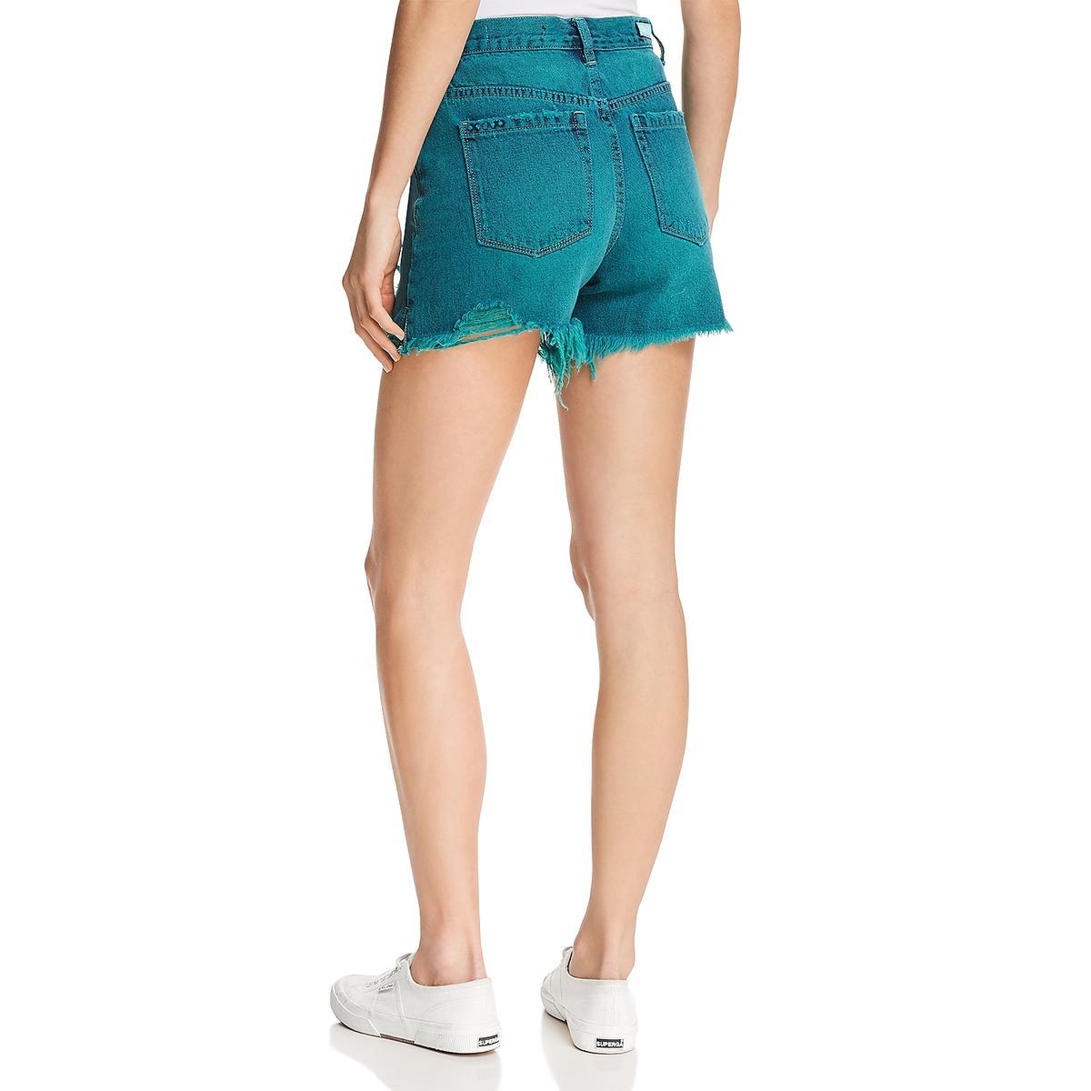Blank NYC Womens Denim Cutoff Midi High-Waist Shorts BHFO 1681
