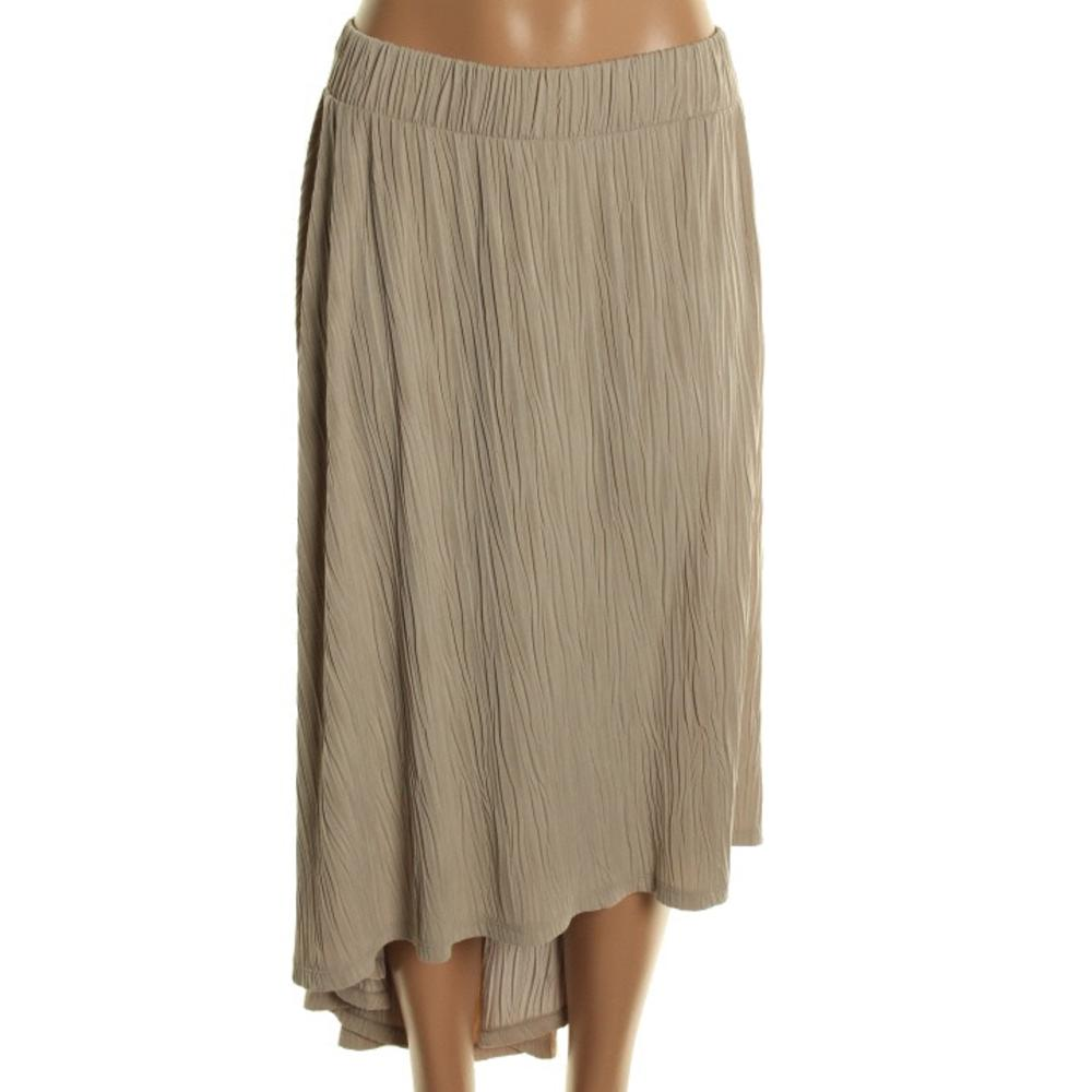 inc new beige hi low pull on below knee a line skirt plus