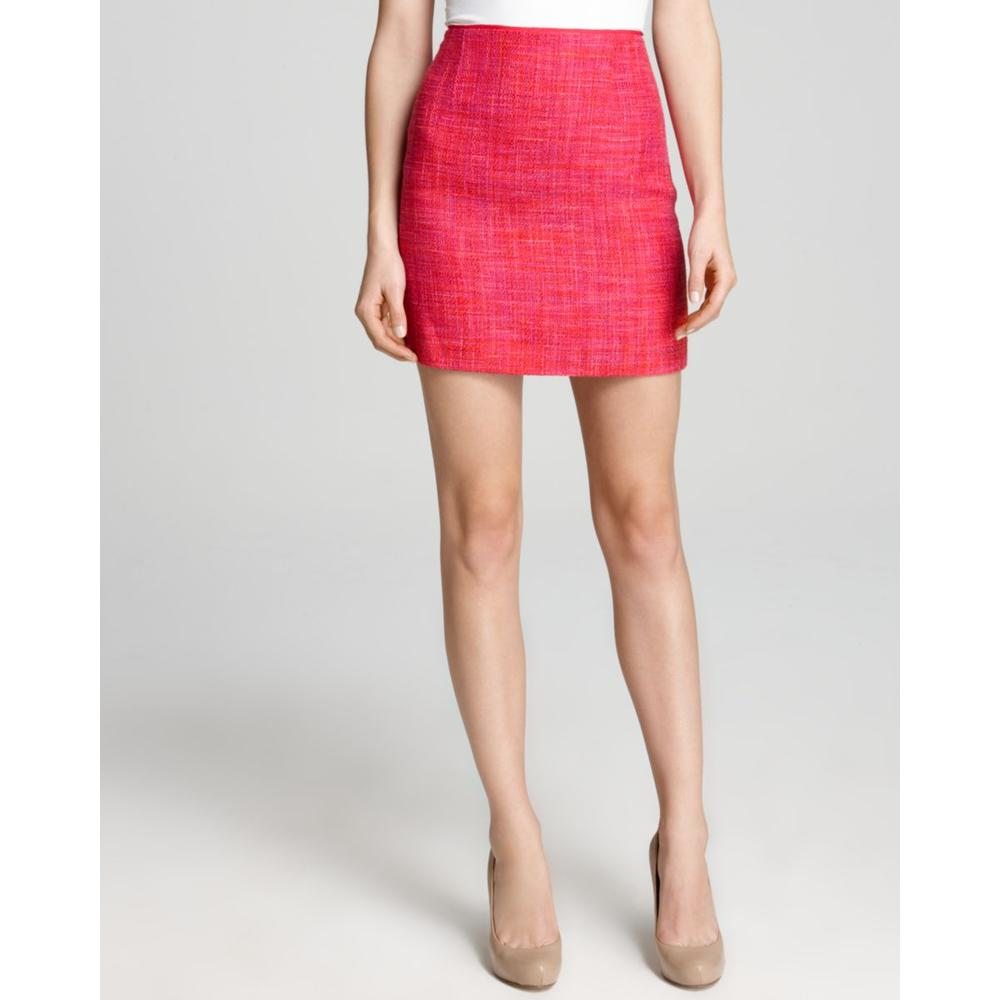 elie tahari new pink tweed lined above knee pencil