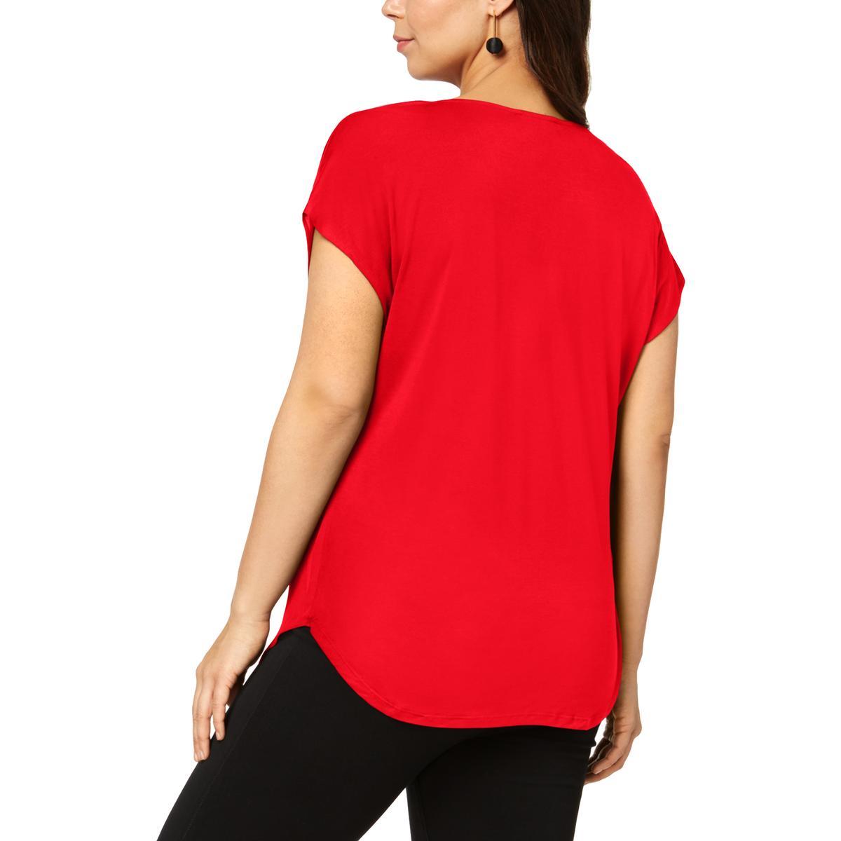 INC Womens Pleated Vneck V-Neck Career Wear Shirt Blouse Top BHFO 5271