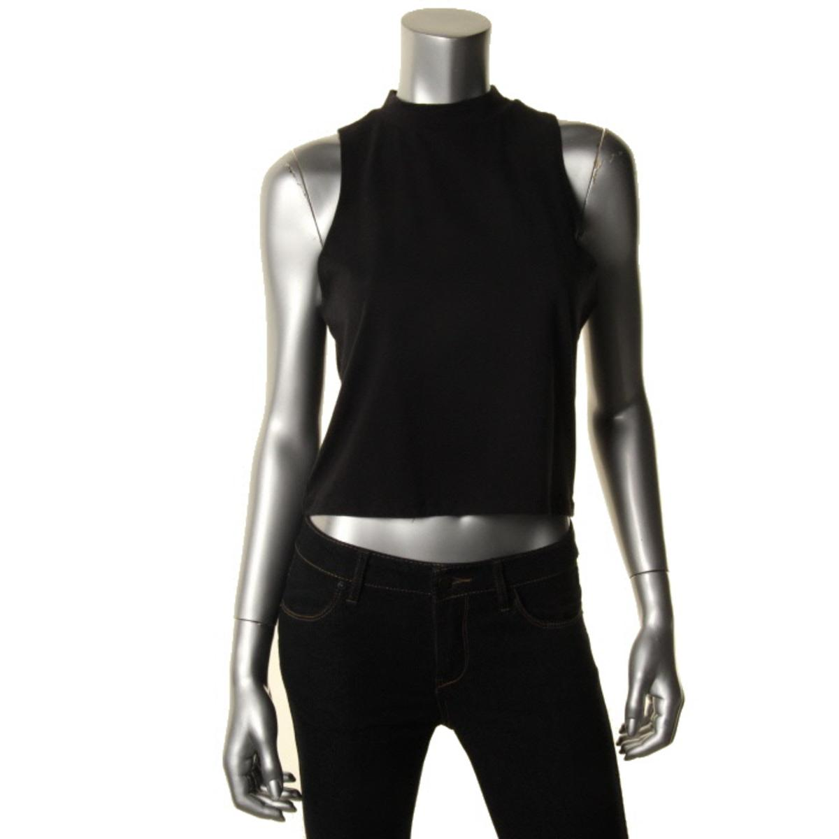 Energie 3208 womens stretch sleeveless mock neck crop top for Sleeveless mock turtleneck shirts
