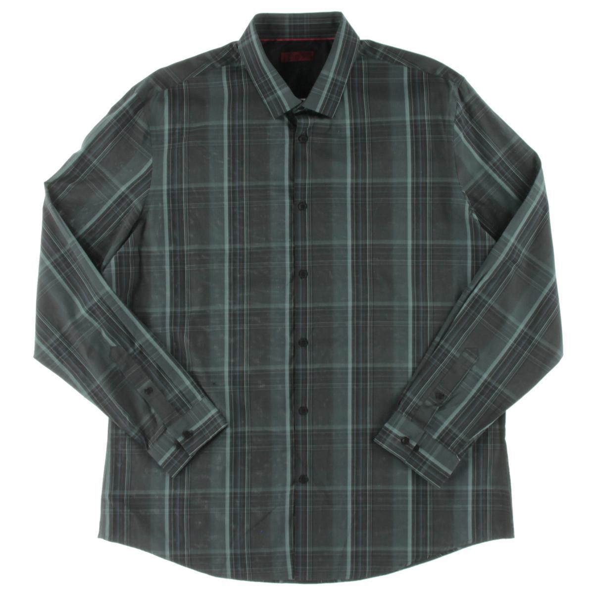 Alfani 0142 Mens Black Slim Fit Cotton Plaid Button Down