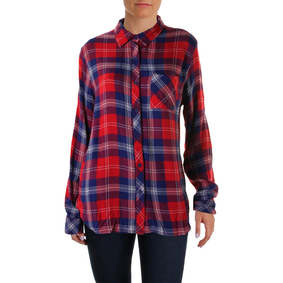 Beach lunch lounge 4680 womens leigh plaid flannel button for Plaid button down shirts for women
