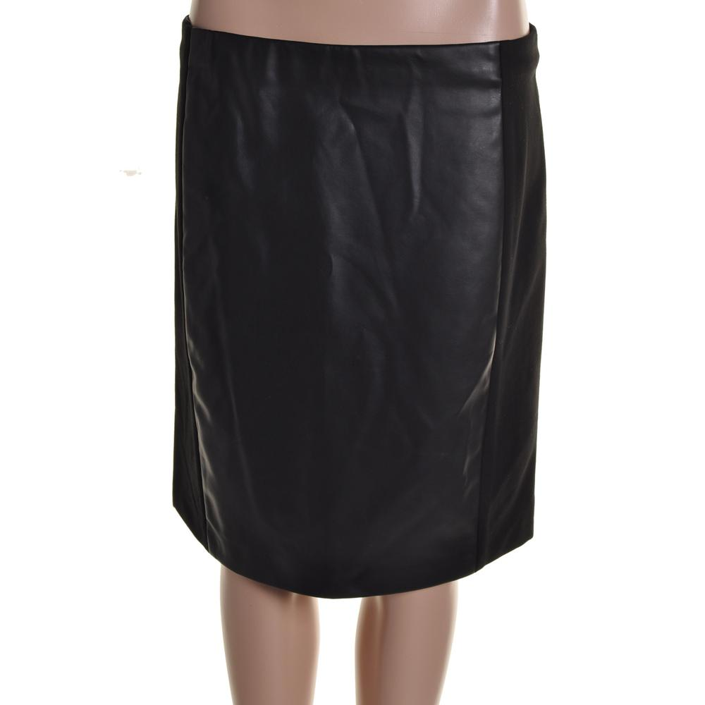 ralph new black faux leather panel knee