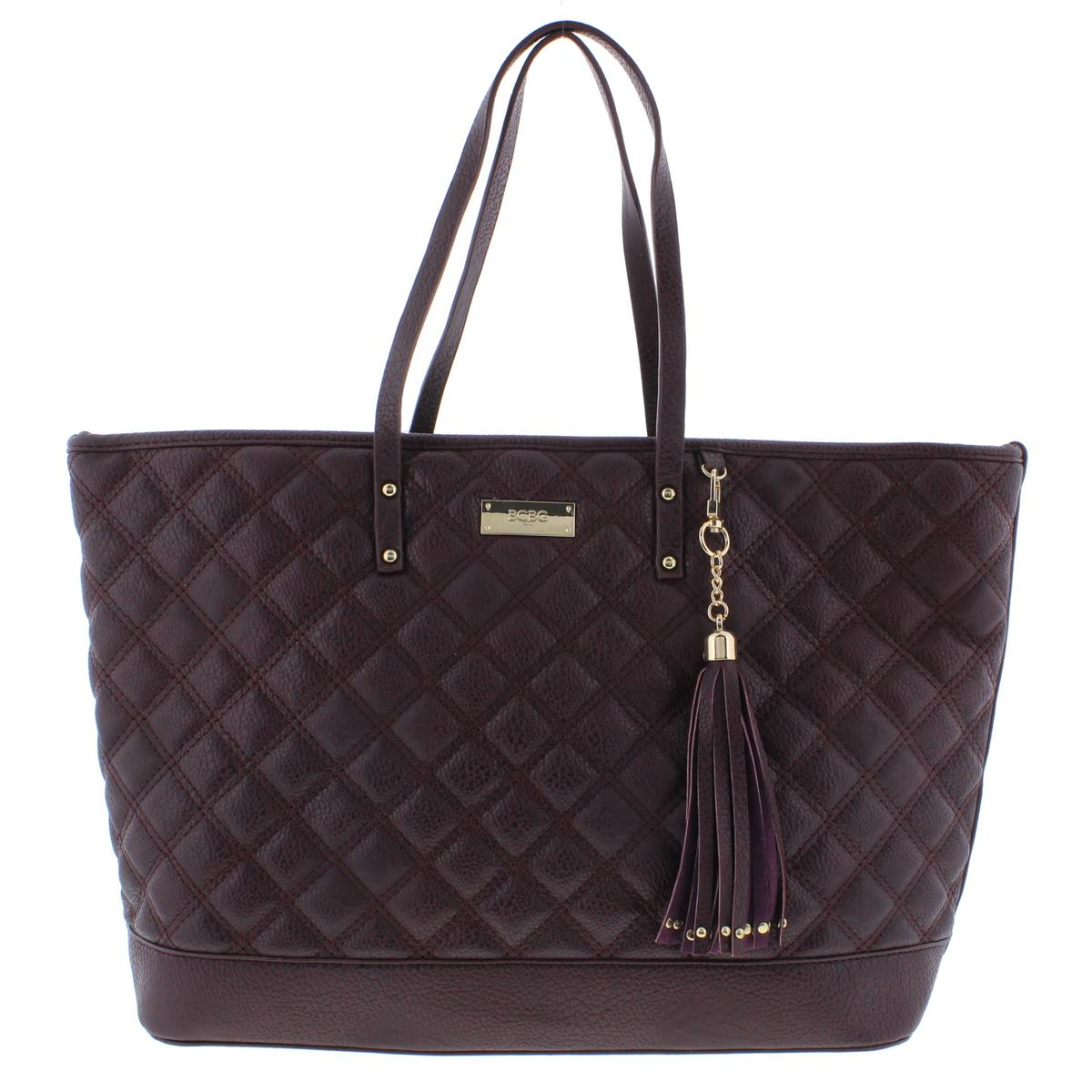 Bcbg Paris 1385 Womens Quilted Faux Leather Tote Handbag