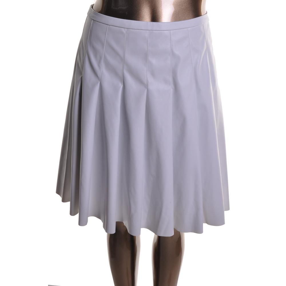 calvin klein 7895 womens white faux leather a line pleated