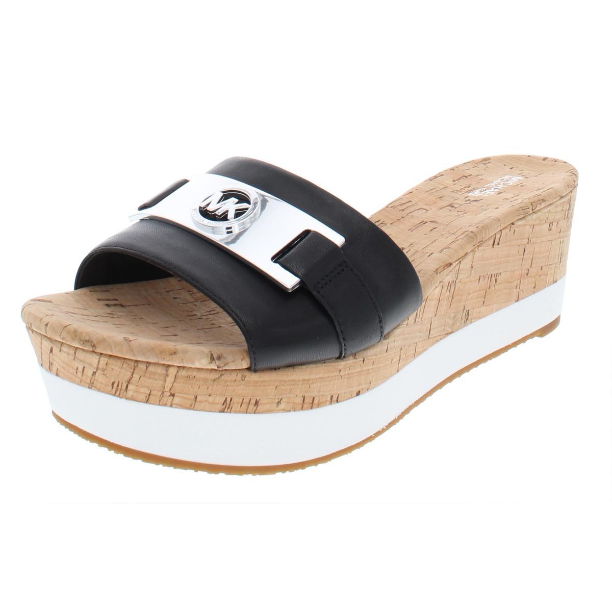 0085705950 Michael Kors Warren Womens Leather Wedge Platform Sandals