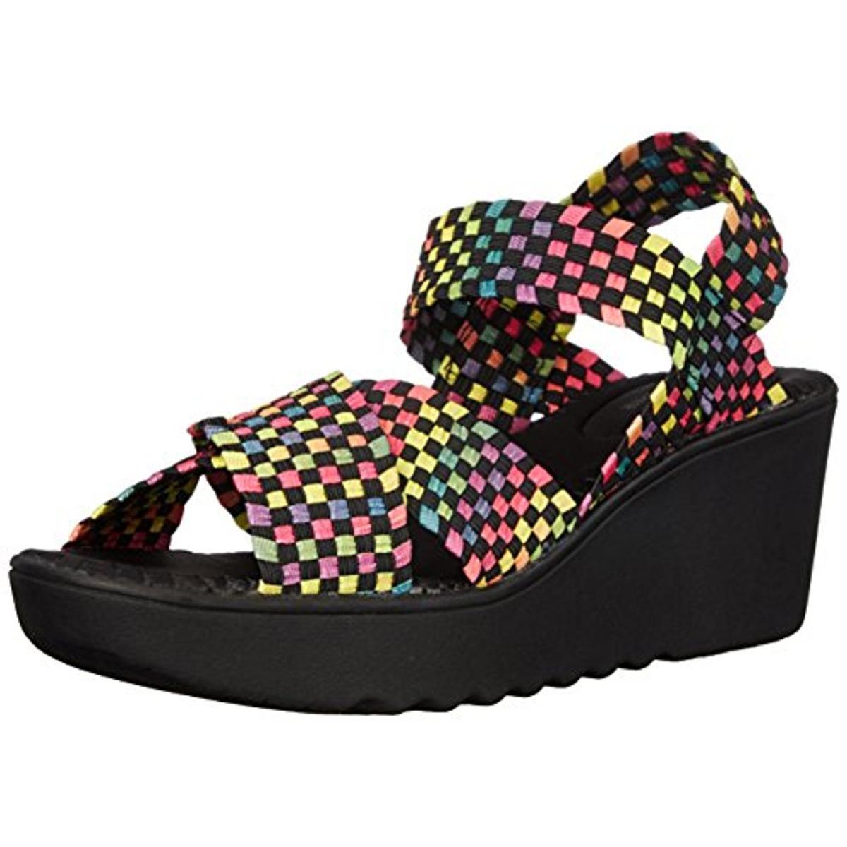 wild pair 9039 womens fortuna basket weave strappy slip on wedges sandals bhfo ebay. Black Bedroom Furniture Sets. Home Design Ideas