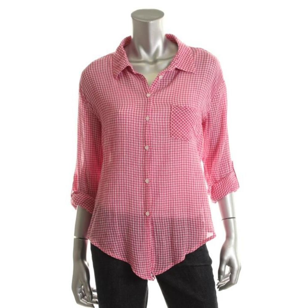 C c california new pink gauze knot front button down top for Gauze button down shirt