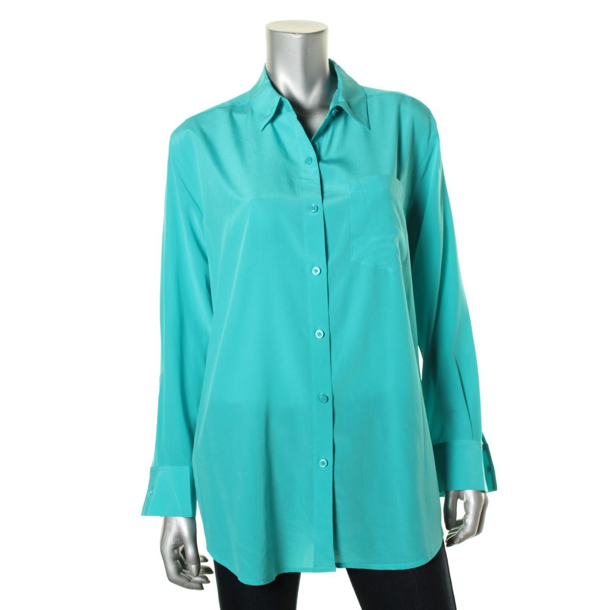 dkny 6007 womens silk long sleeves collared button down