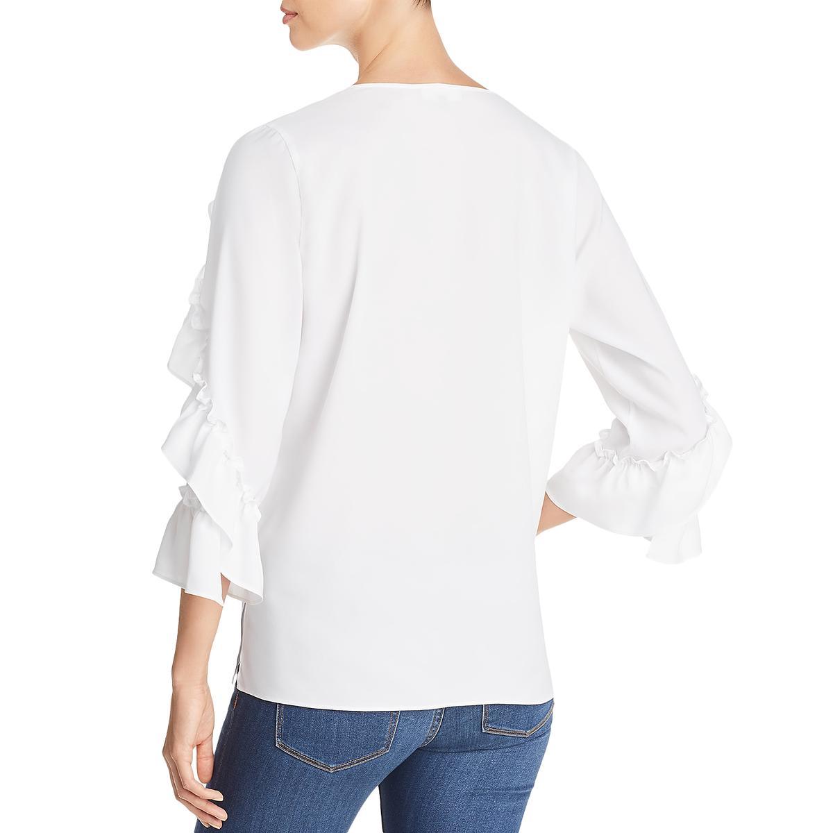 Le Gali Womens Kaylen Ruffled 3//4 Sleeves V-Neck Blouse Top BHFO 8394