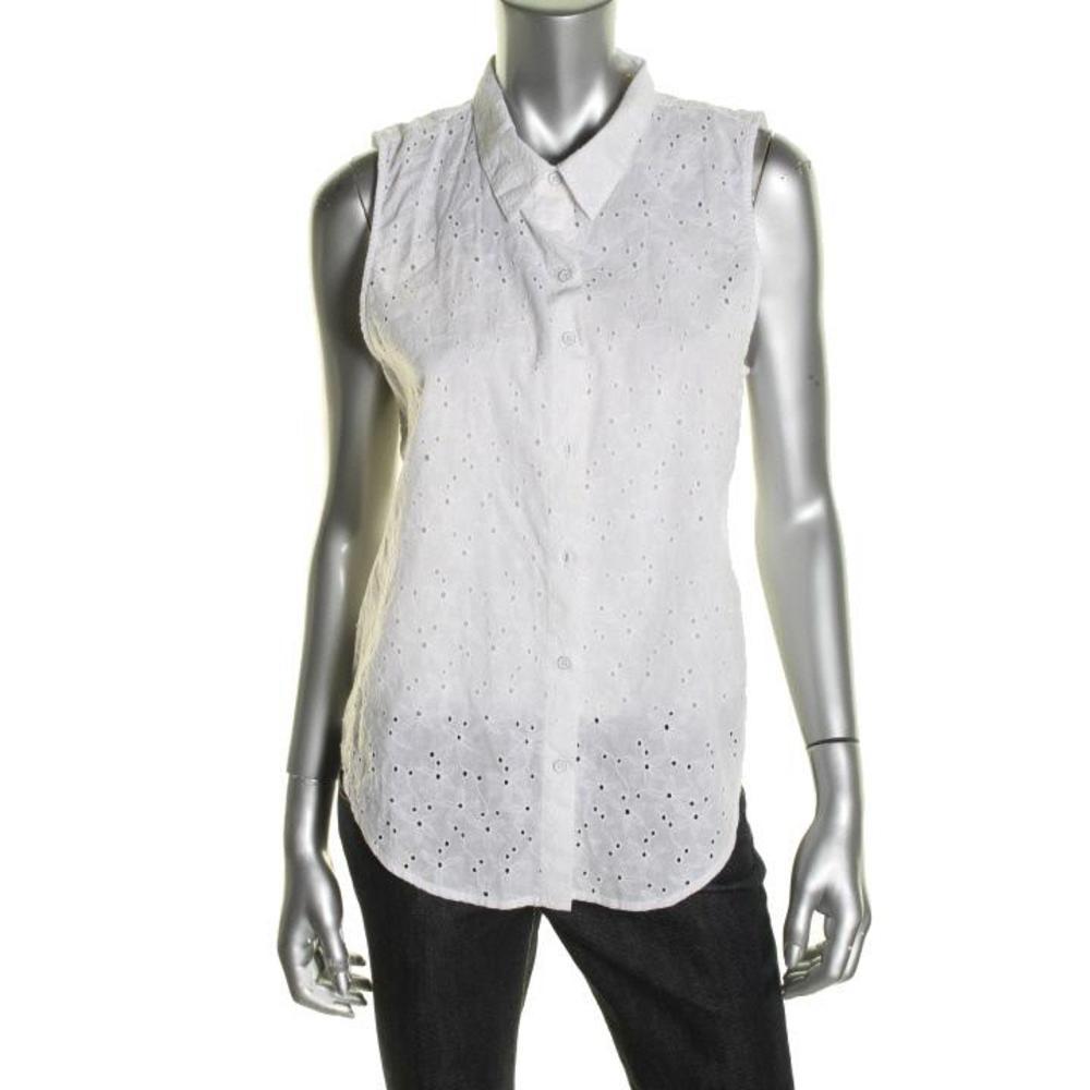 C c california new white cotton eyelet sleeveless button for Sleeveless cotton button down shirts