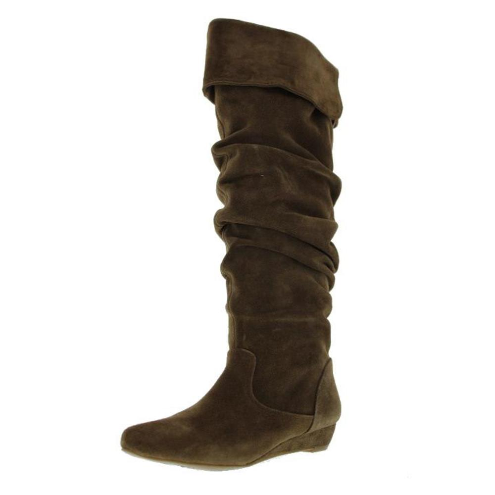new brown suede slouchy knee high