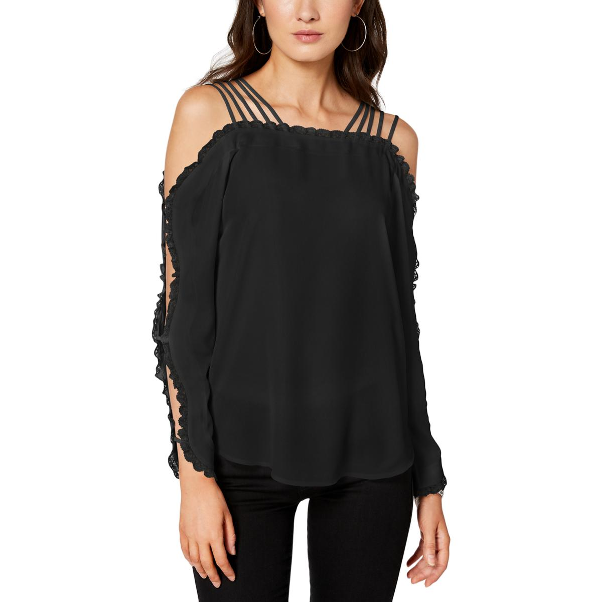 ab7d7fb0ed3 XOXO Juniors Womens Off-The-Shoulder Lace Trim Pullover Top