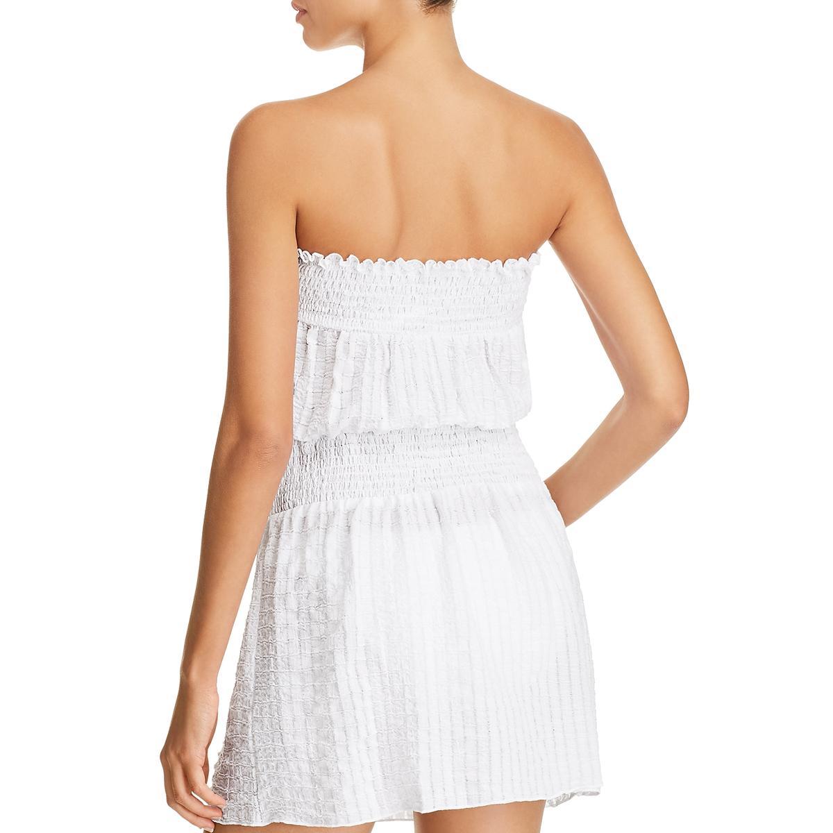 Soluna Womens Cotton Smocked Mini Dress Swim Cover-Up BHFO 3972