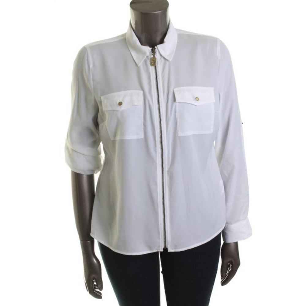 Zip Front White Blouse 64