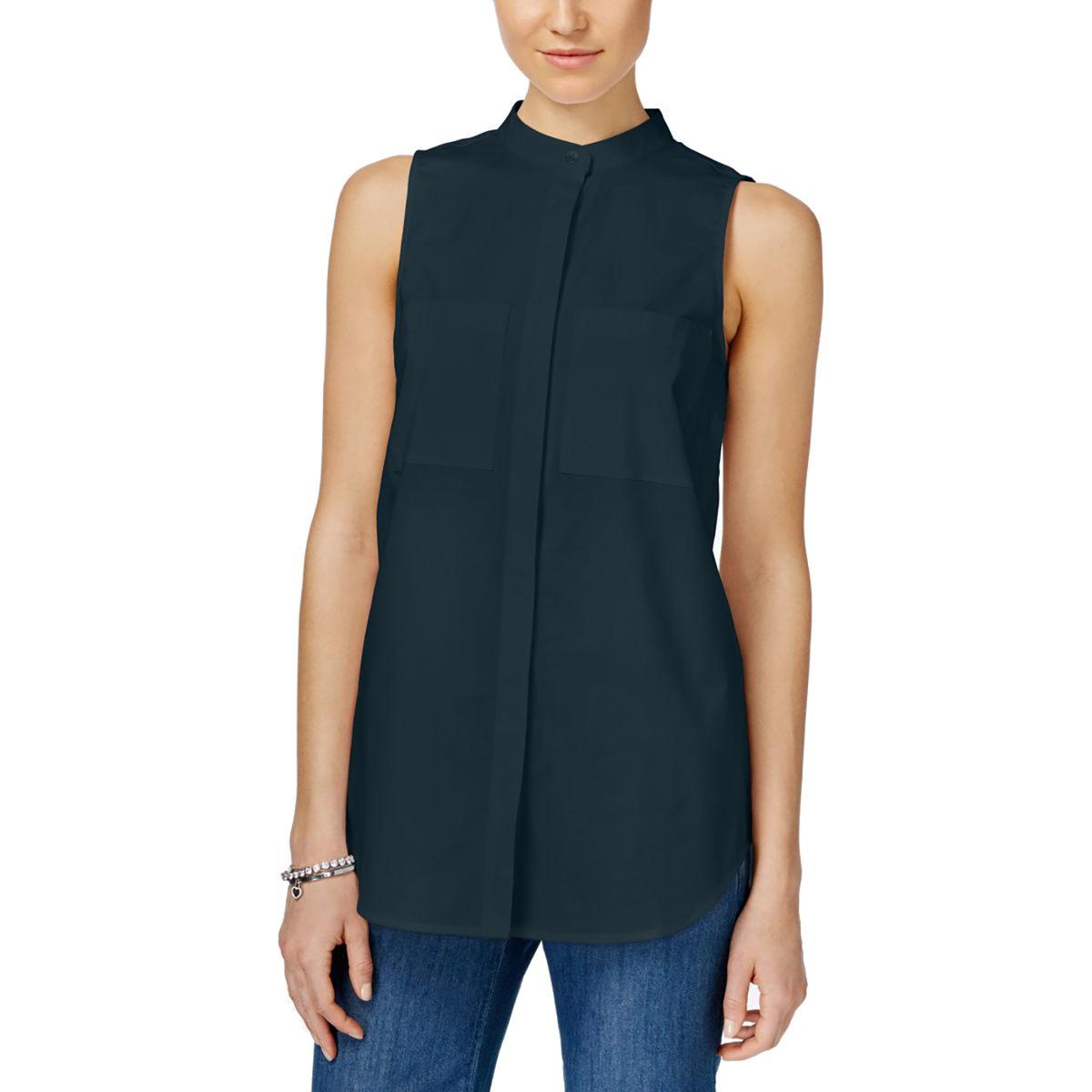 Michael michael kors 8722 womens poplin sleeveless button for Sleeveless cotton button down shirts