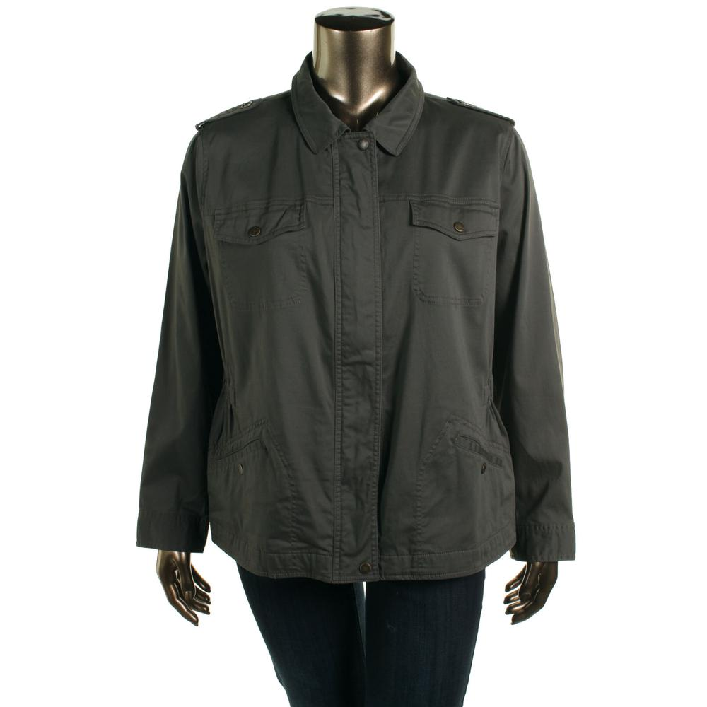 TWO BY VINCE CAMUTO Plus Zip Front Collared Military Jacket