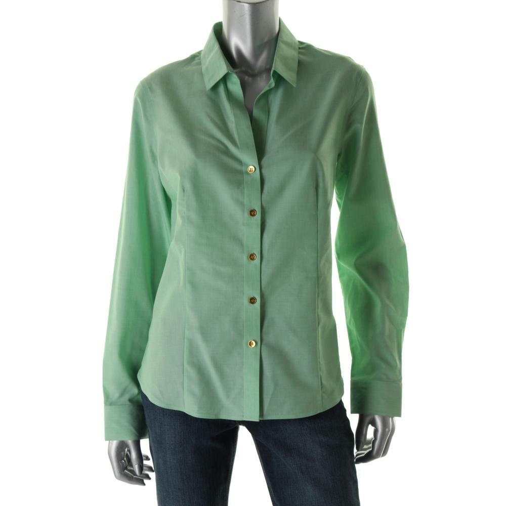 jones new york new green wrinkle resistant fitted button