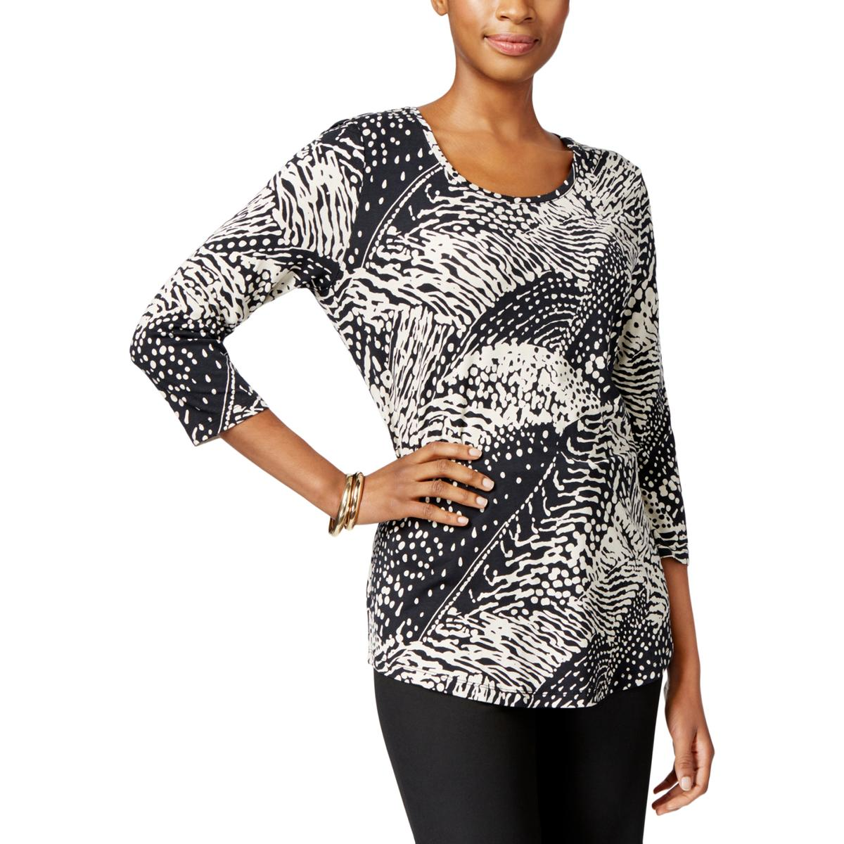 fa8619c0a0e JM COLLECTION Petites Womens Printed Round Neck Pullover Top