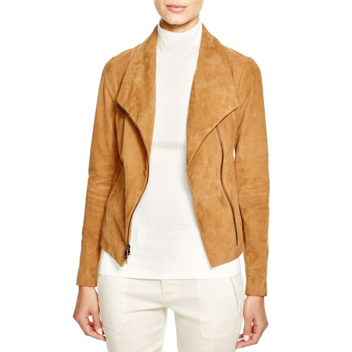 Vince 4421 Womens Leather Panel Long Sleeves Bomber Jacket Coat BHFO