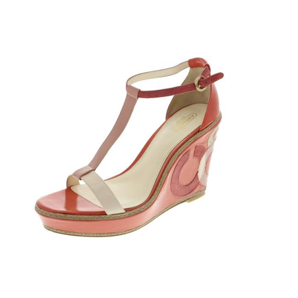 coach new maggie orange patent signature platform sandals