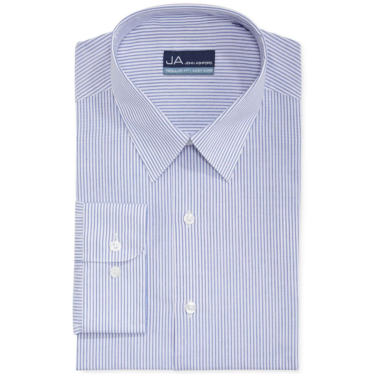 John ashford 9876 mens blue regular fit striped dress for Regular fit dress shirt