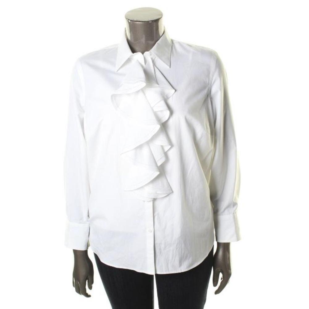 ralph lauren ruffled cotton blouse silk blouses. Black Bedroom Furniture Sets. Home Design Ideas