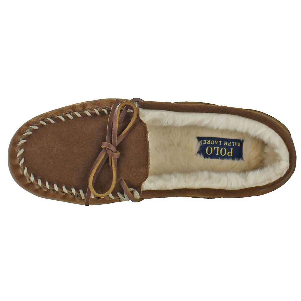 9cb6e659a57 Ralph Lauren Charlie Womens Moc Toe Faux Fur Lined Moccasin Slippers
