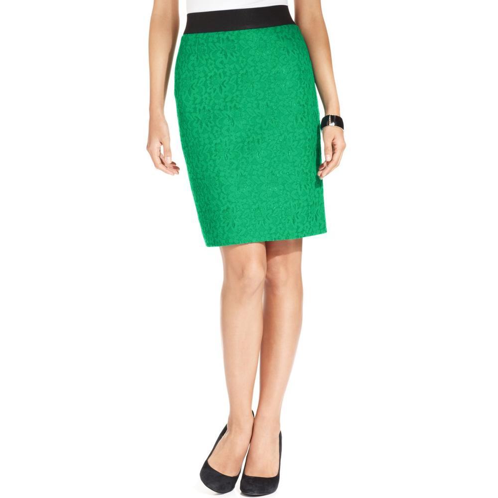 alfani new green lace overlay pencil skirt bottoms petites