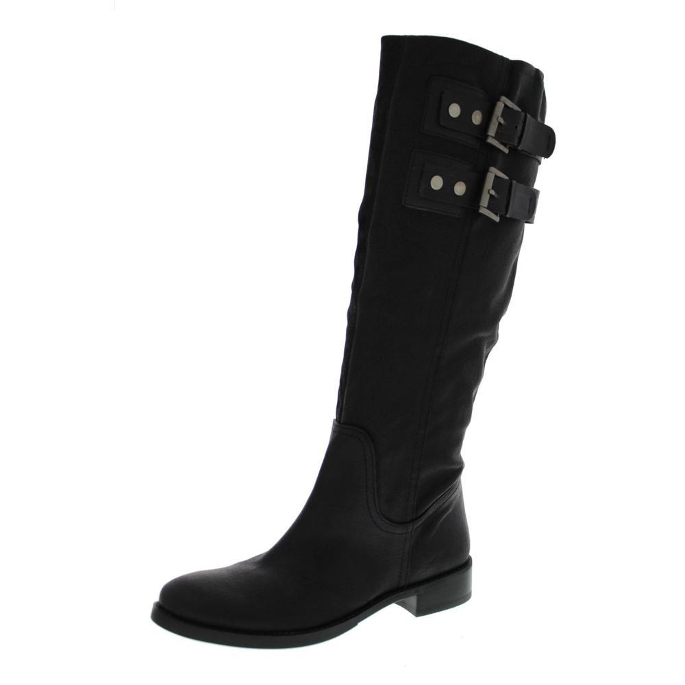 nine west new tumble black leather buckle knee high