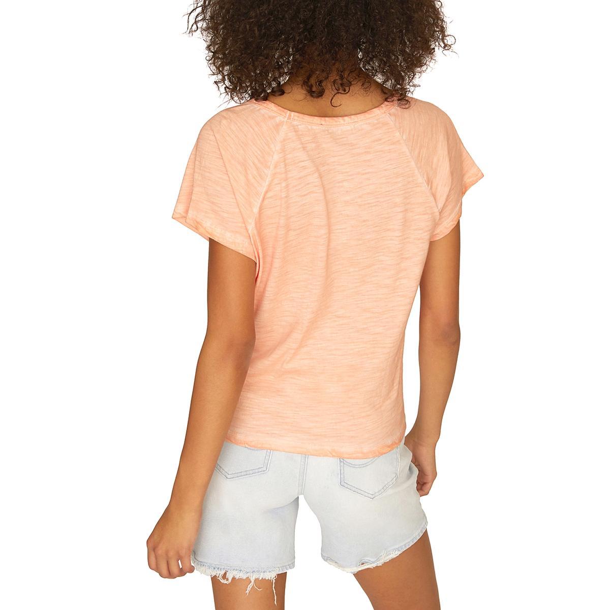 Sanctuary Womens Lou Orange Tie-Front Short Sleeve Tee T-Shirt Top XS BHFO 5712