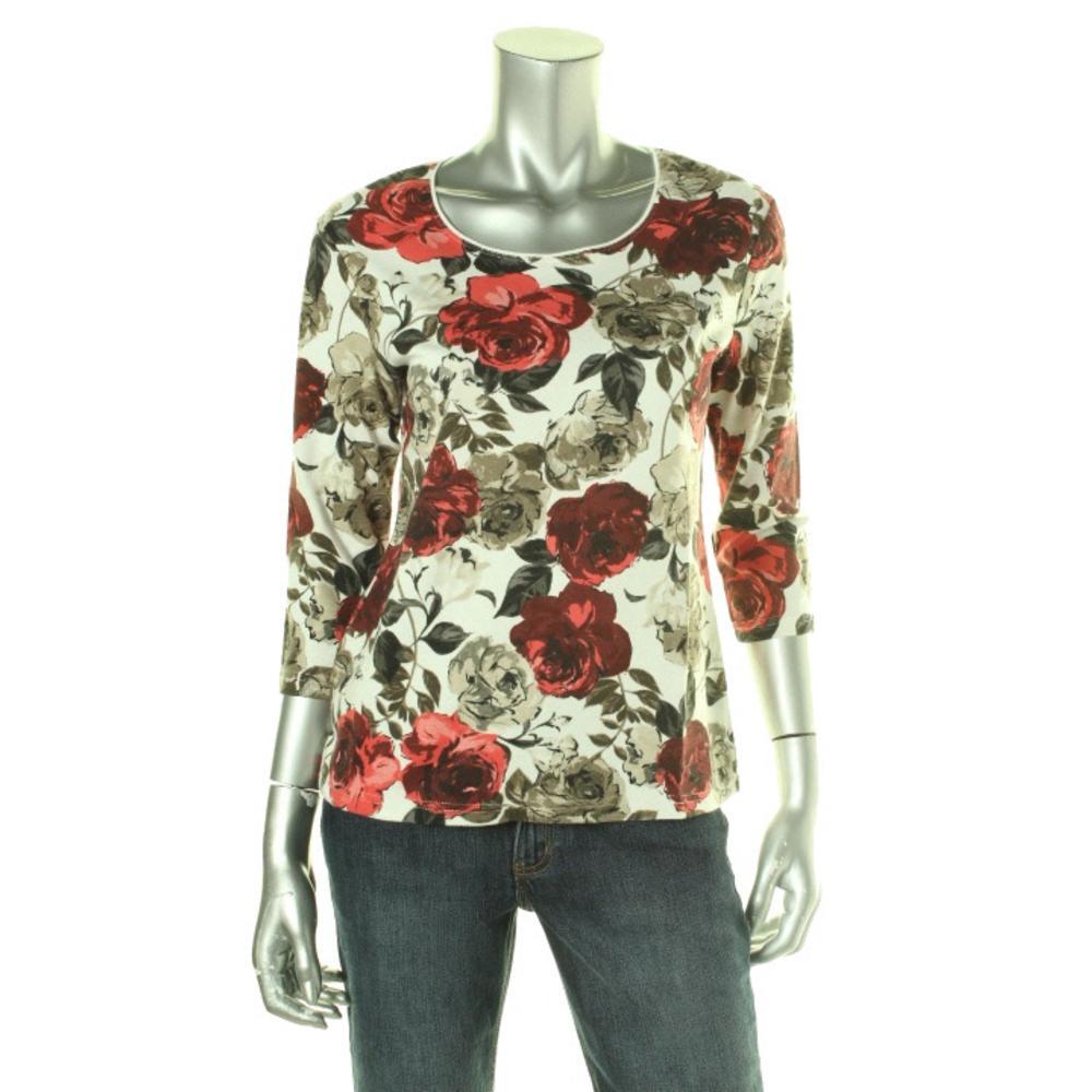 KAREN SCOTT Petites Knit Floral Print Pullover Top