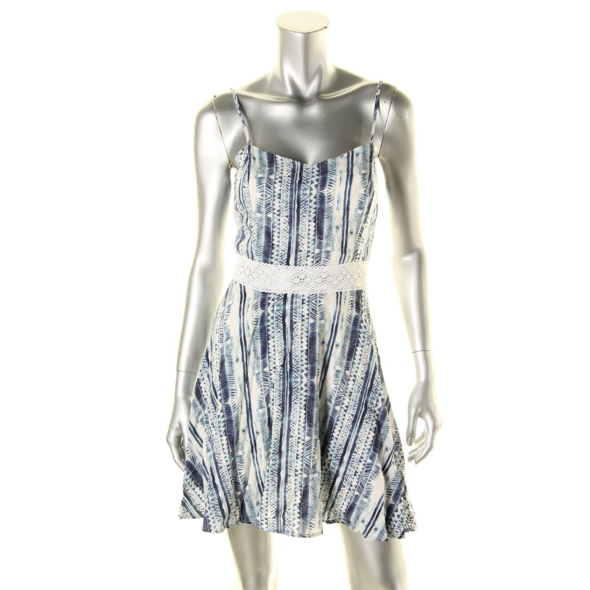 Aqua-2182-Womens-Blue-Printed-Crochet-Trim-Spaghetti-Straps-Casual-Dress-L-BHFO