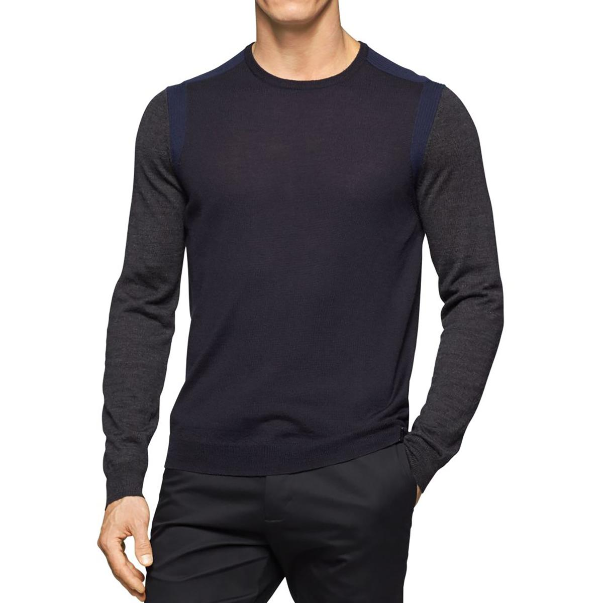 calvin klein 2123 mens merino wool blend knit colorblock pullover sweater bhfo ebay. Black Bedroom Furniture Sets. Home Design Ideas