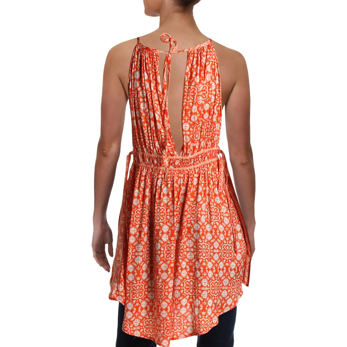Free People Womens Mid Summers Day Printed Halter Tunic Top Shirt BHFO 8699
