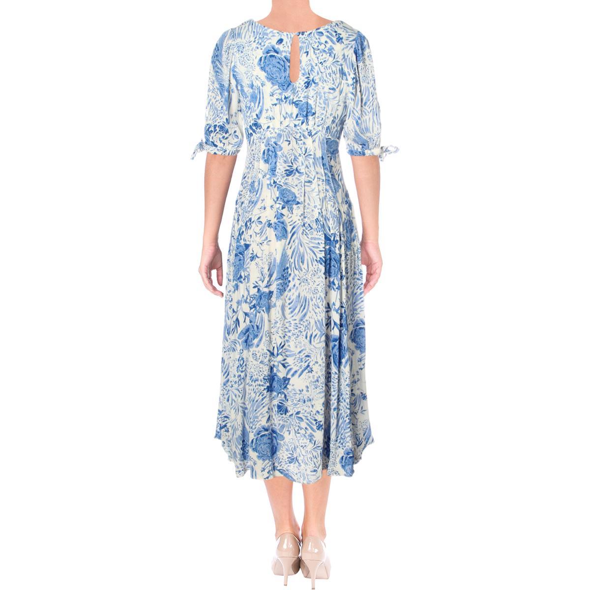 Free People Womens Floral Pintuck Split Sleeves Maxi Dress BHFO 7599