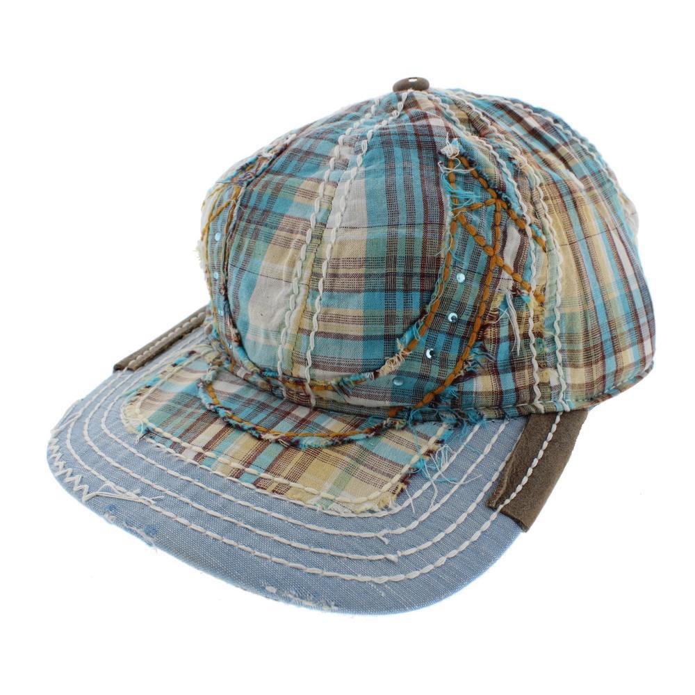 True Religion Plaid Rhinestone Ball Cap