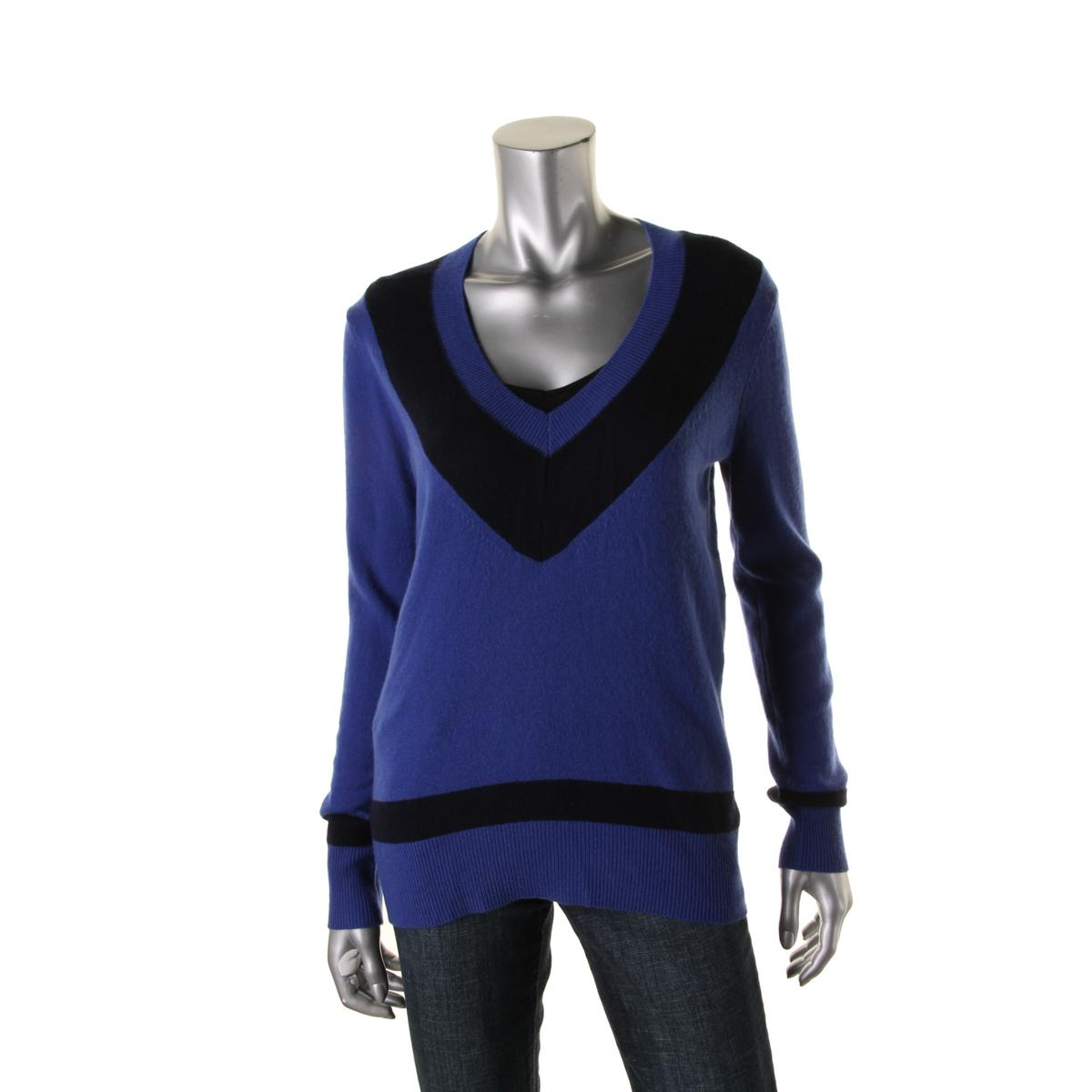 aqua 5579 womens cashmere v neck contrast trim pullover sweater top bhfo. Black Bedroom Furniture Sets. Home Design Ideas