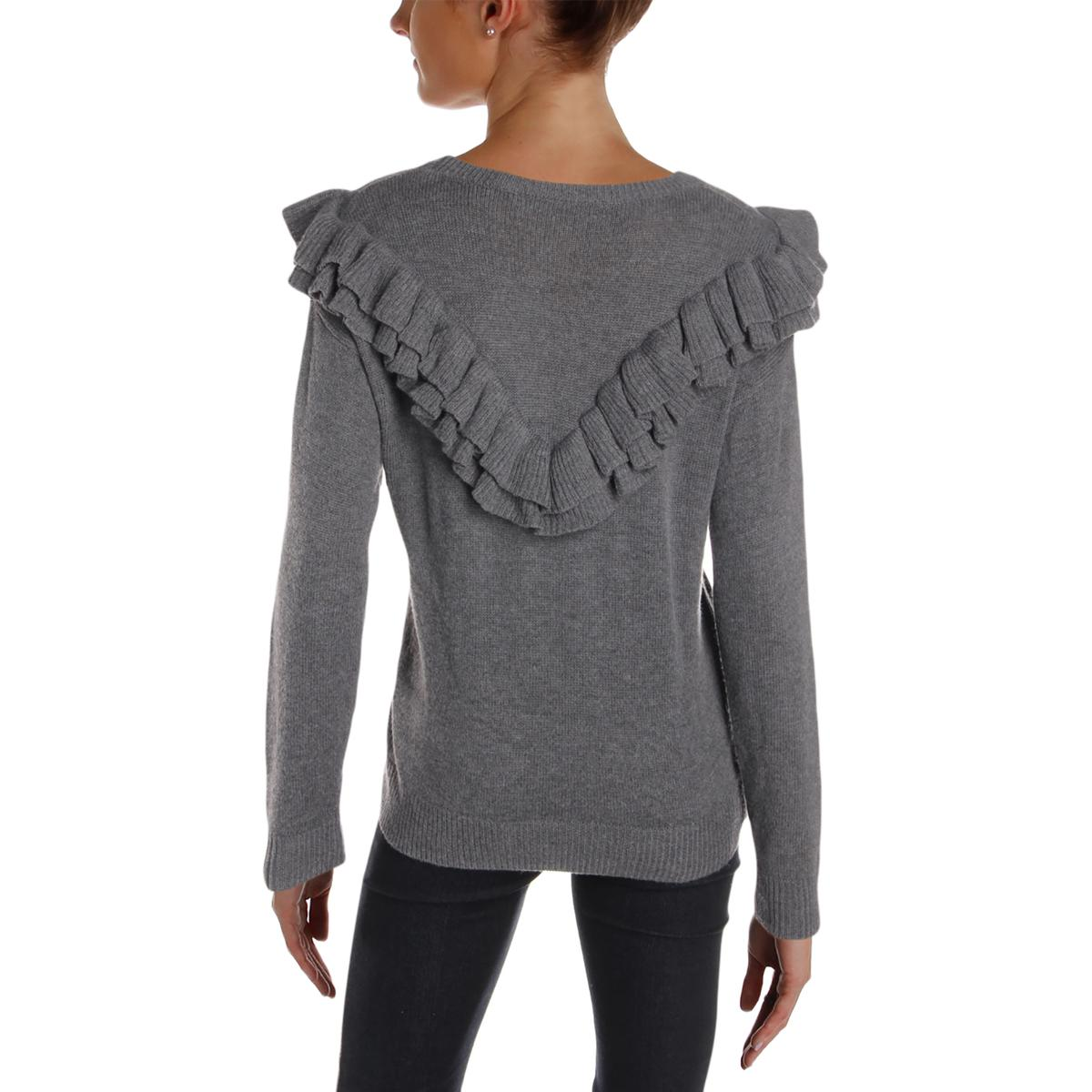 One Grey Day Women/'s Wool Blend Ruffled Long Sleeve Crew Neck Sweater