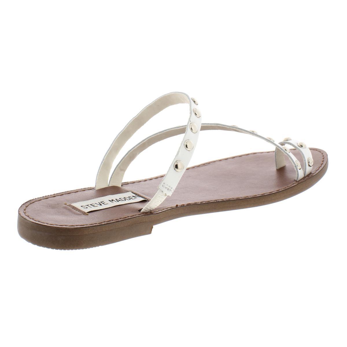 Steve Madden Womens Daria Leather Studded Toe Loop Flat Sandals Shoes BHFO 5938