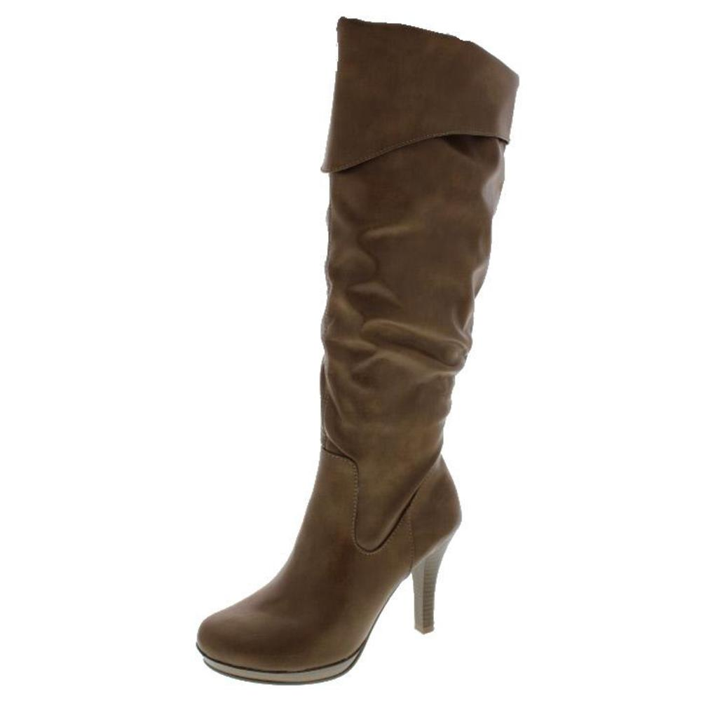 rage new bronx brown fold slouchy heels knee high