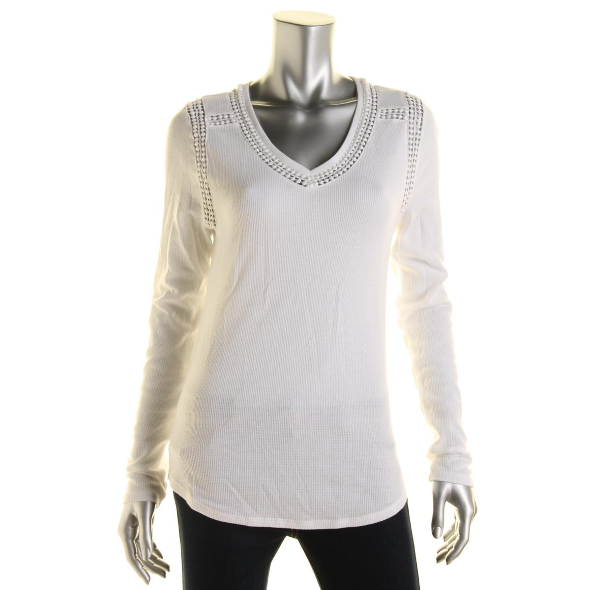 Lucky brand 9368 womens cotton thermal cut out t shirt top for Thermal shirt for women