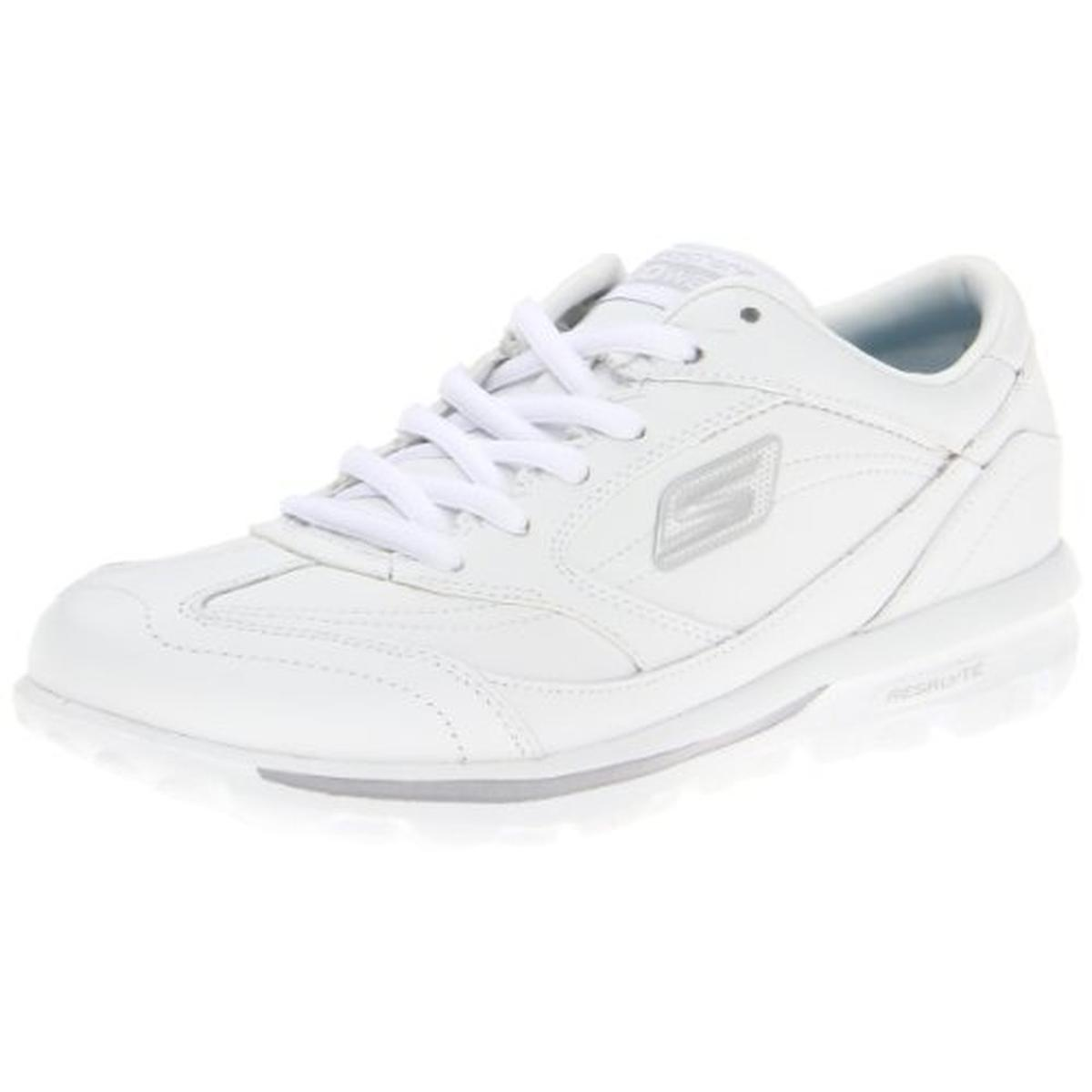 skechers 6334 womens white leather athletic walking shoes