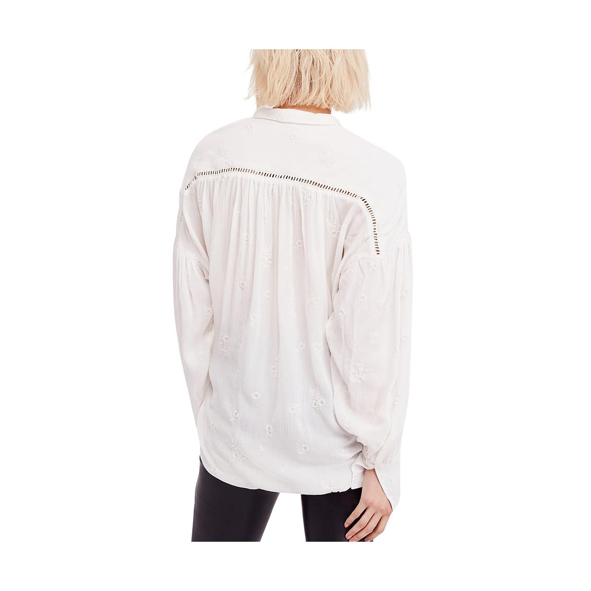 Free People Womens Wishful Moments Embroidered Tie-Neck Blouse Top BHFO 2600